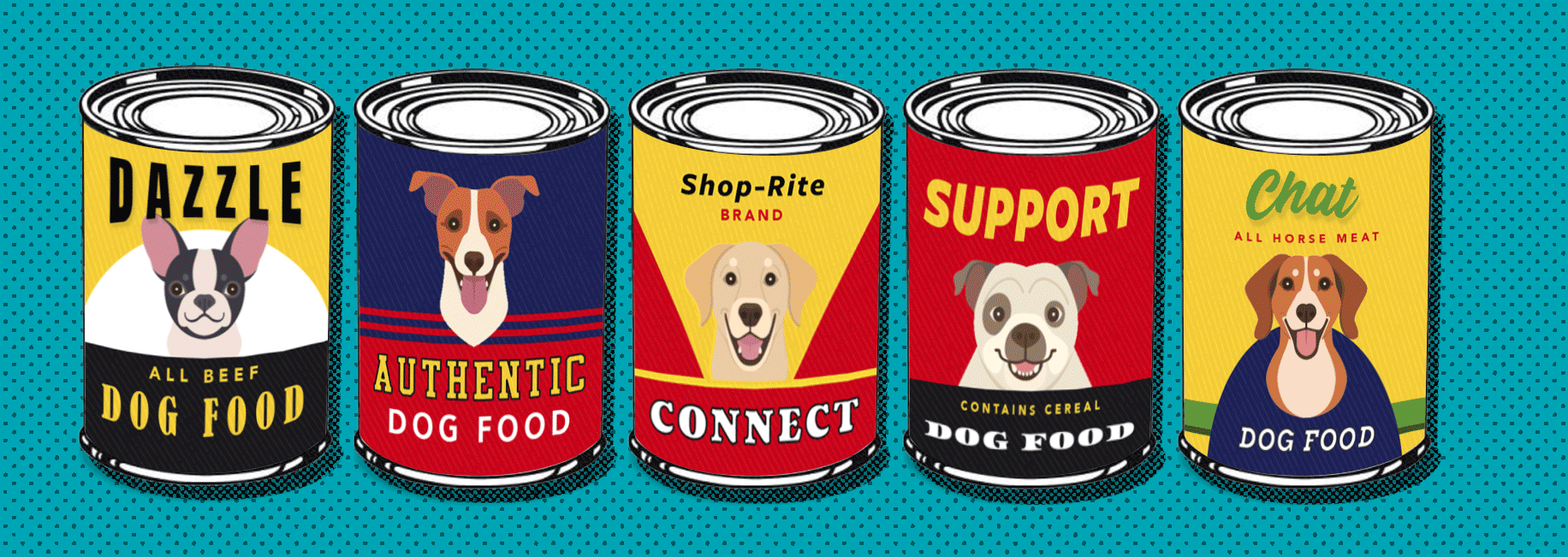 Array of fictional dog food cans.