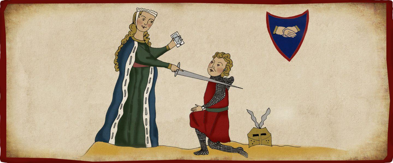 A queen bestows knighthood