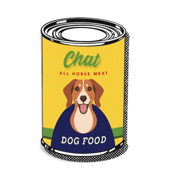 Chat dog food illustration