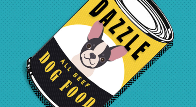 Illustration of a can of Dazzle dog food