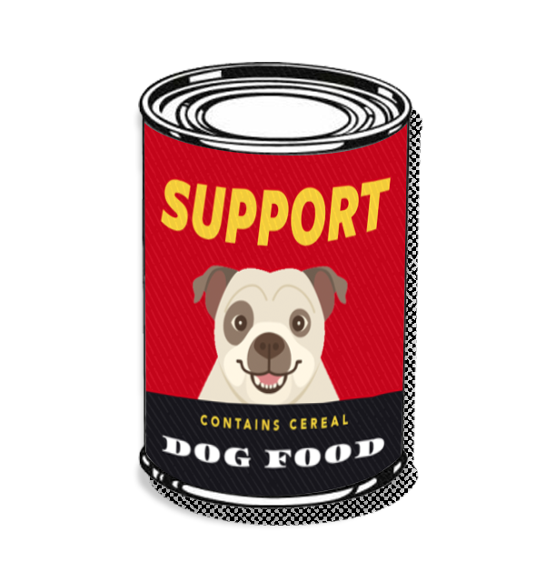 Support dog food illustration