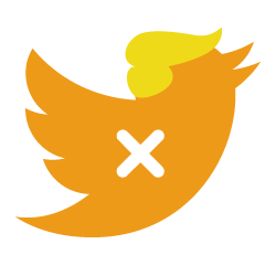 Twitter logo in Trump colours