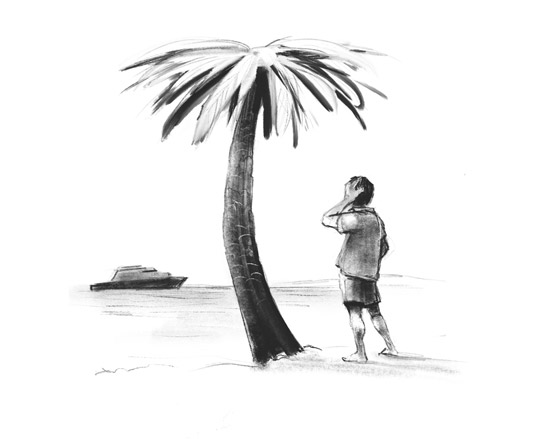 Illustration of a lonely man on a beach