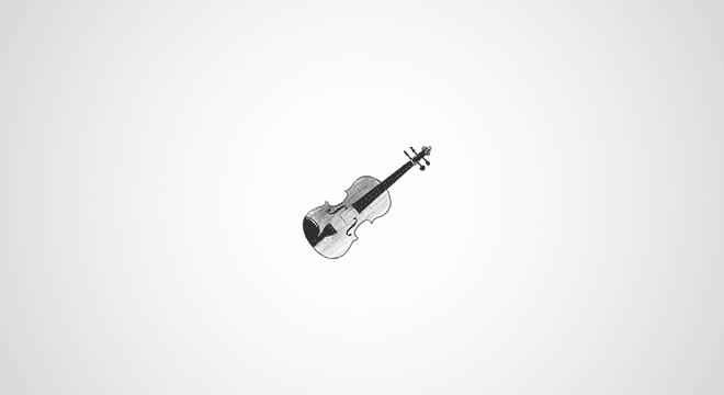 Drawing of a tiny violin