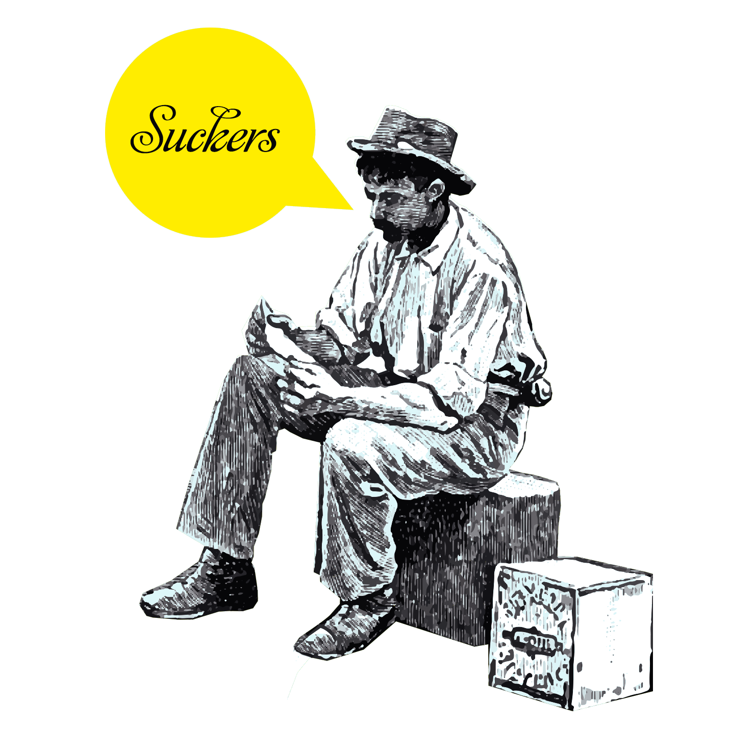 "Illustration of a man sat on a box with speech bubble reading ""suckers"""